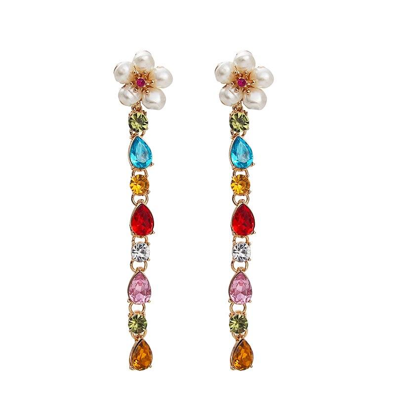 Женские Висячие серьги AE-CANFLY ZA, длинные серьги с блестящими кристаллами, жемчугом и цветком, 2019