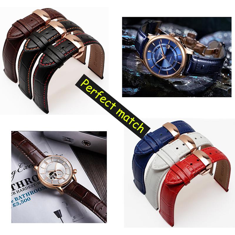 Prix pour Qualité véritable bande de montre en cuir 14mm 16mm 15mm 17mm 18mm 19mm 20mm 21mm 22mm 24mm remplacement bracelet en cuir pour hommes
