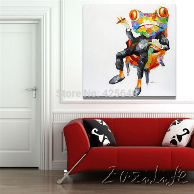 Aliexpress.com : Buy Pop art Frog Oil paintings On Canvas Wall ...
