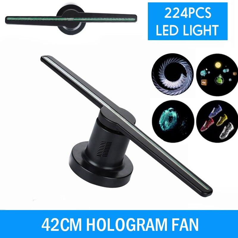 42cm 224 LEDs 3D hologramme projecteur ventilateur holographique affichage publicitaire lumières drôle joueur entreprise partie décorations lampe