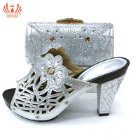 New African Silver Color Matching Shoes and Bags Italian In Women Nigerian Party Shoe and Bag Sets Women Shoes and Bag Set Italy