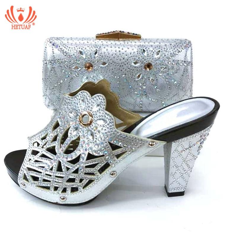 Nouvelle couleur africaine argent correspondant chaussures et sacs italien en femmes nigérian fête chaussure et sac ensembles femmes chaussures et sac ensemble italie