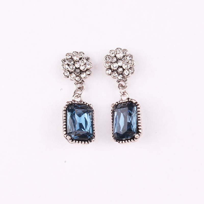 LUBOV Multiple Crystal Stone Drop Earrings Square Candy Color Dangle Earrings for Women Christmas Party Gift Jewelry in Drop Earrings from Jewelry Accessories