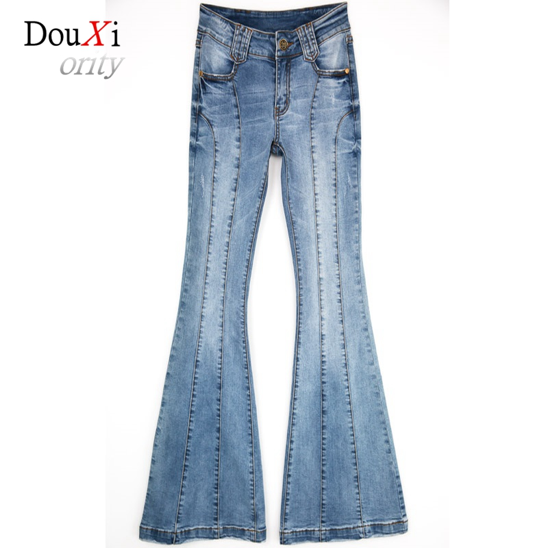 Female Jeans Flare Pants For Europe and the United States Stitching Denim Elastic Skinny Slim Wide Leg Trousers Calca Jeans hanlu europe and the united states women s super elastic lace lvkong denim trousers fashion comfortable feet pants