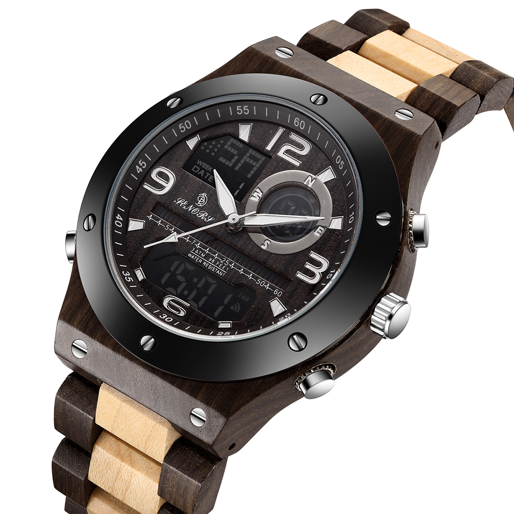 Vintage Natural Wooden Quartz Men Watch Multi-function Dual Display Wrist Watch Wood Strap Waterproof Quartz Movement(China)