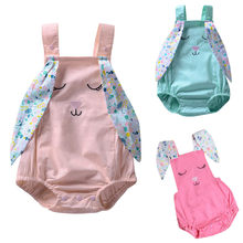 Toddler Girls Rompers Sleeveless Rabbit Print Tops Clothes Easter baby girl romper summer 2019 baby jumpsuit newborn(China)