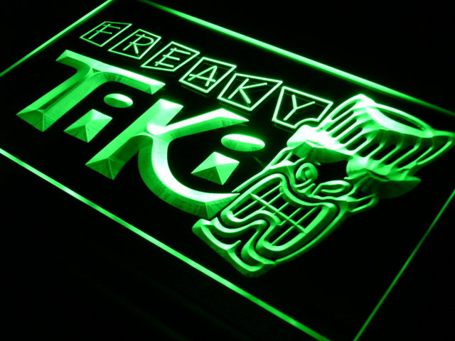 s092 Freaky Tiki Bar Mask Pub Beer LED Neon Light Sign On/Off Swtich 20+ Colors 5 Sizes