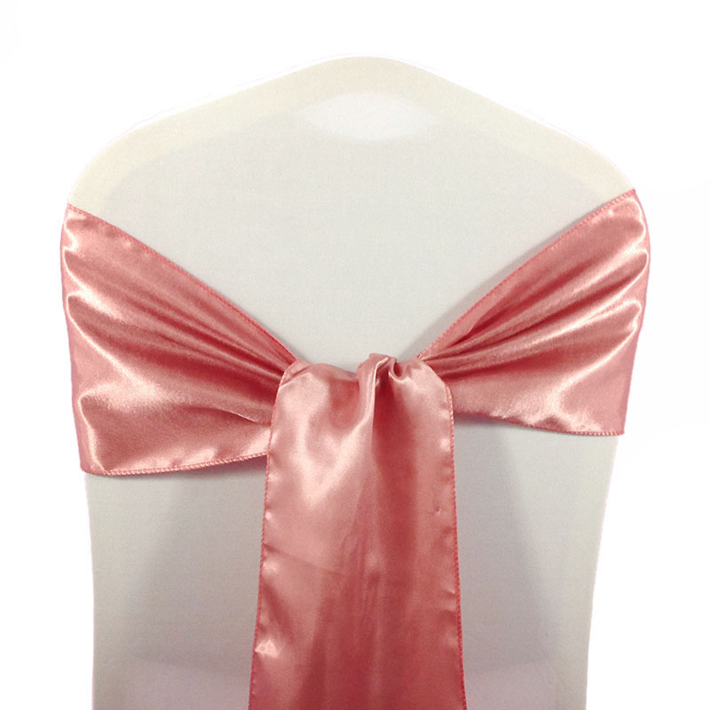 Rose Gold Satin Chair Sashes Tie For Wedding Events Chair Cover Back Decoration Fabric Chair Sash Bow