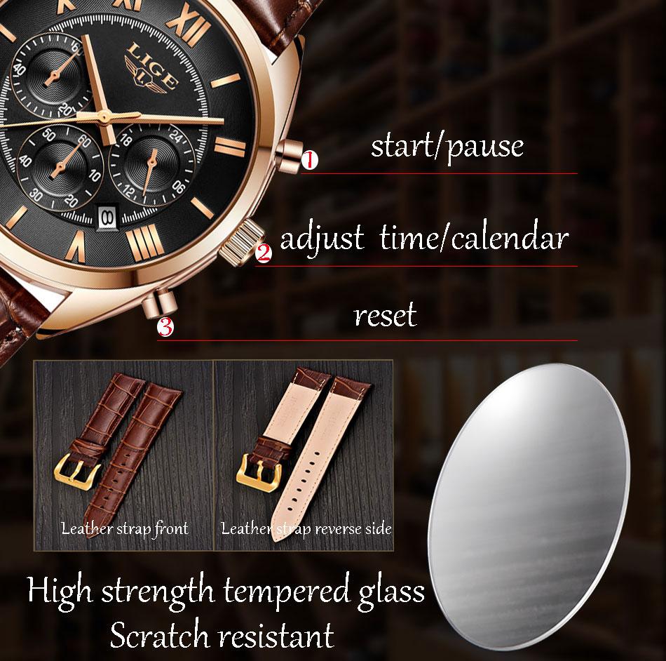 HTB1beoAPgHqK1RjSZFPq6AwapXay LIGE Watch For Men Top Brand Luxury Waterproof 24 Hour Date Quartz Clock Brown Leather Sports WristWatch Relogio Masculino 2019