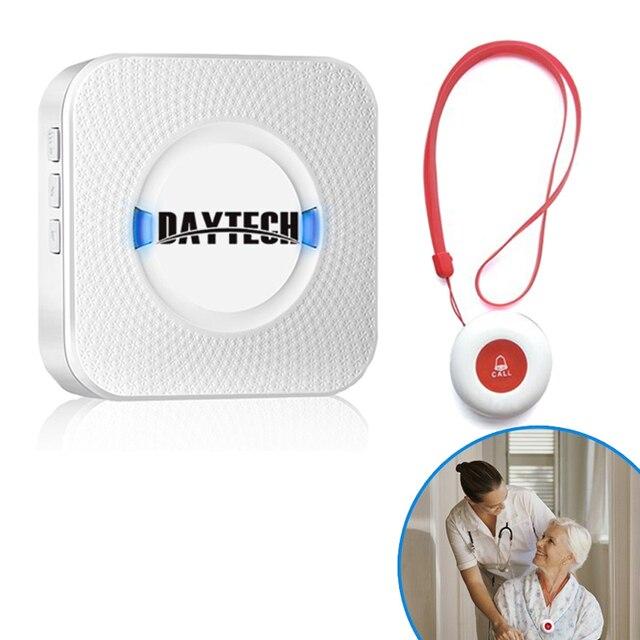 DAYTECH Caregiver Cercapersone Senza Fili Assistenza Domiciliare Alert Sistema di Chiamata di Chiamata SOS Bottoni Per Anziani Paziente Incinta Disabili (CC01 01A)