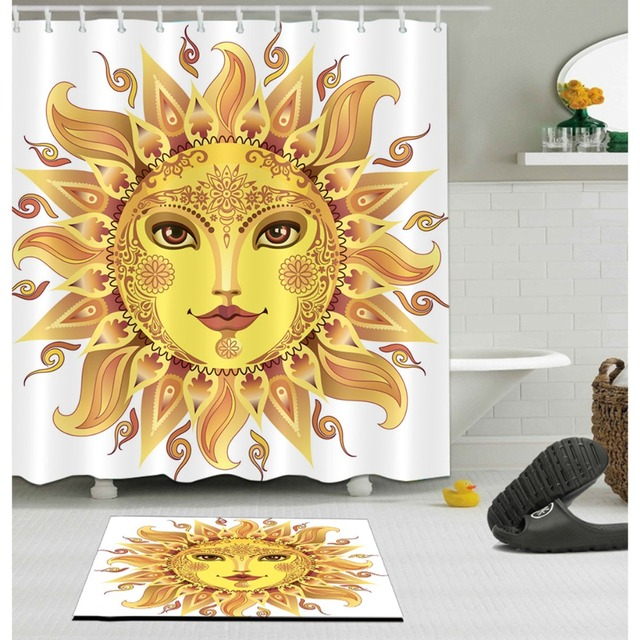 LB Funny Yellow Sun Goddess Sunflower White Shower Curtain And Mat Set Waterproof Polyester Bathroom Fabric