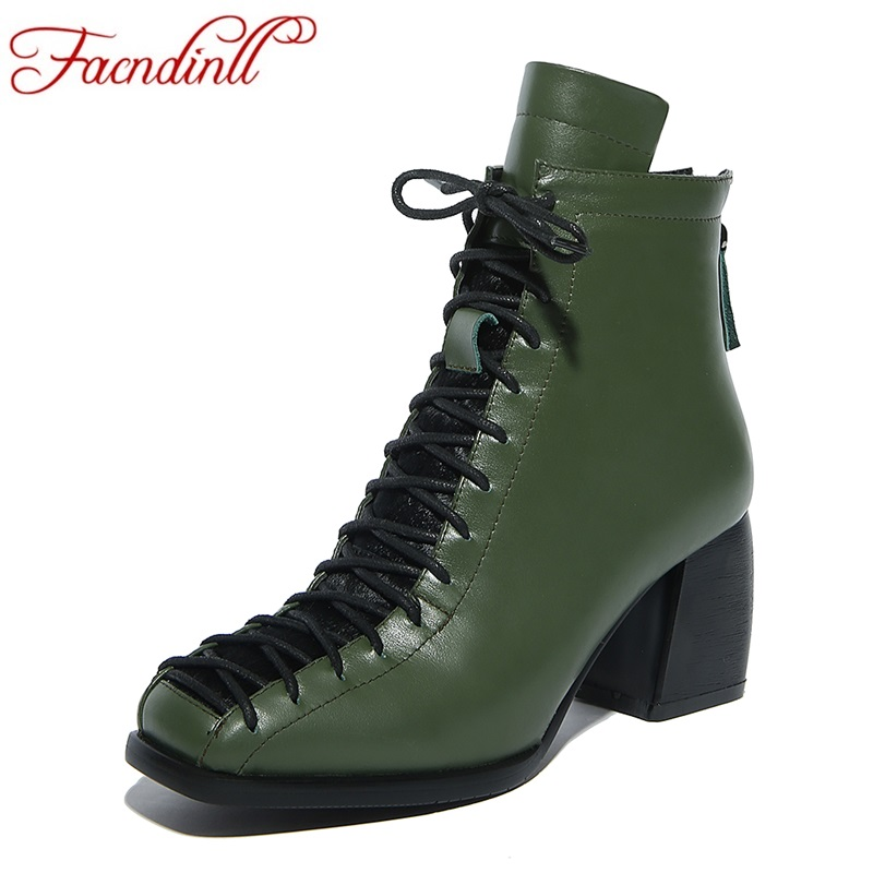 FACNDINLL plus size 34-42 new autumn winter women ankle boots high heels square toe zipper shoes woman riding motorcycle boots enmayla ankle boots for women low heels autumn and winter boots shoes woman large size 34 43 round toe motorcycle boots