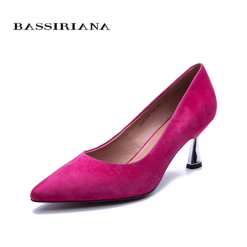 BASSIRIANA New high heels pumps for woman Basic model Office Career Pointed Toe Genuine leather Pink