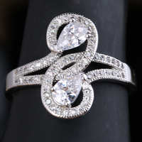 Impressive White Cubic Zirconia 925 Sterling Silver Fashion Women S Jewelry Rings US Size 6 7