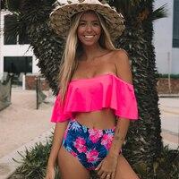 2019 новый сексуальный купальник бикини с высокой талией женский купальник с открытыми плечами купальный костюм бикини с рюшами бразильский ...