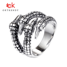 Oktrendy 316L stainless steel dragon claw man rings punk rock vintage carving unique for male boy fashion jewelry gift silver
