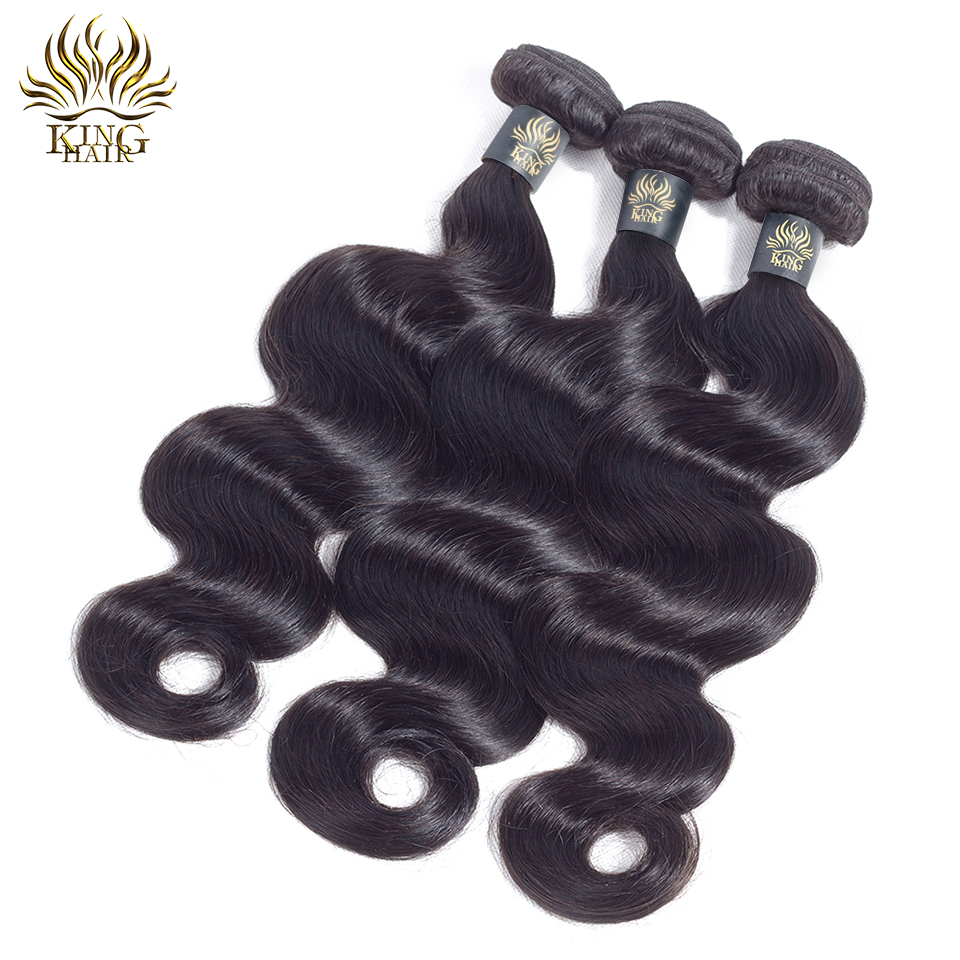 KING HAIR Peruvian Remy Hair Body Wave Bundles Naturlig Sort Farve - Menneskehår (sort) - Foto 5