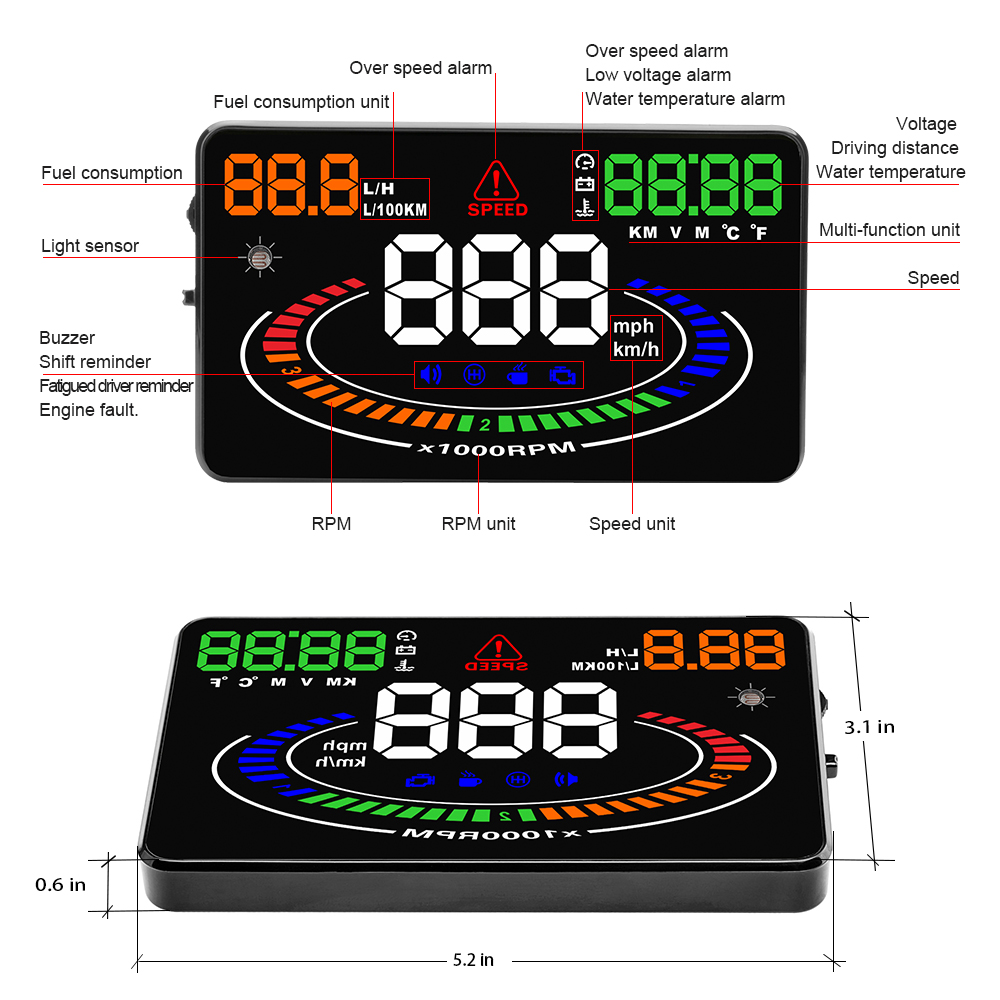 Image 3 - GEYIRE E300 HUD OBD2 Head Up Display Car velocidad proyector OBD UE MPH KM/H Digital Coche velocimetro enel parabrisas Proyector-in Head-up Display from Automobiles & Motorcycles