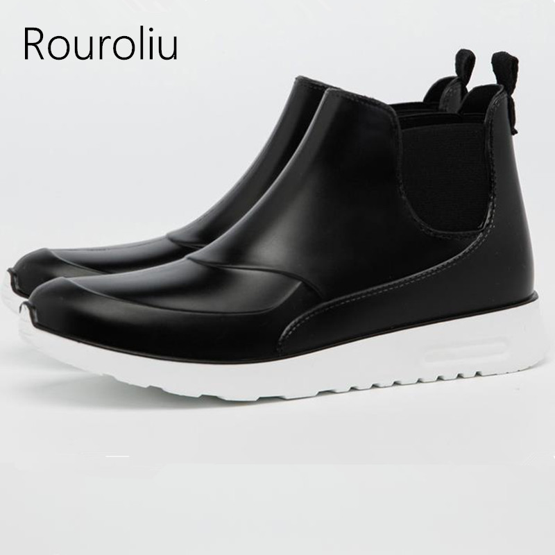 Men's Casual Shoes Men's Shoes Spring And Summer Men Short Tube Rain Boots Ankle Rubber Boot Elastic Band Non-slip Waterproof Rainday Water Shoes