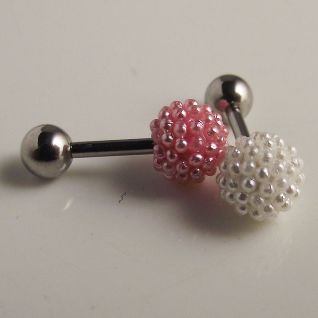1pcs 1 2x6x6mm Pink White Cute Surgical Stainless Steel Stud Earring Cherry Ear Tragus Piercing Strawberry