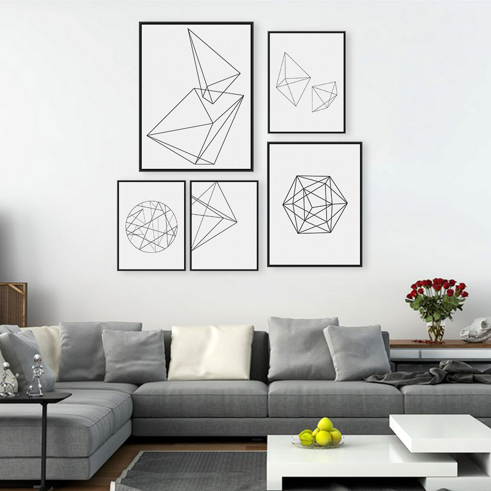 Abstract wall decorations - Minimalist Black Geometric Shape A4 Large Poster Print Modern Abstract Wall Art Picture Hipster Nordic Home
