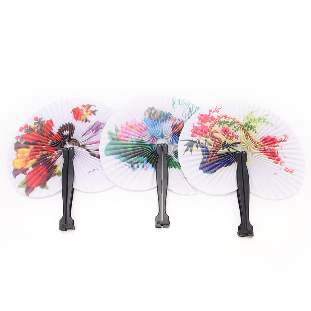Round Painting Folding Fan Paper Hand Fan Event Wedding Bridal ...