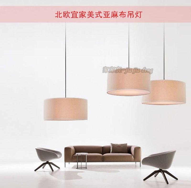 nordic american ikea simple linen round chandelier living room lights