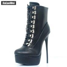 Jialuowei 2018 novas chegam mulheres extremo salto alto plataforma stiletto rendas up zíper sexy botas de tornozelo de couro de patente sapatos unissex