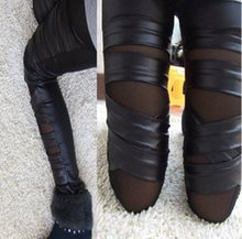 High Quality Crossing Ribbon Leather Leggings