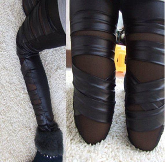 High Quality Crossing Ribbon Leather Leggings