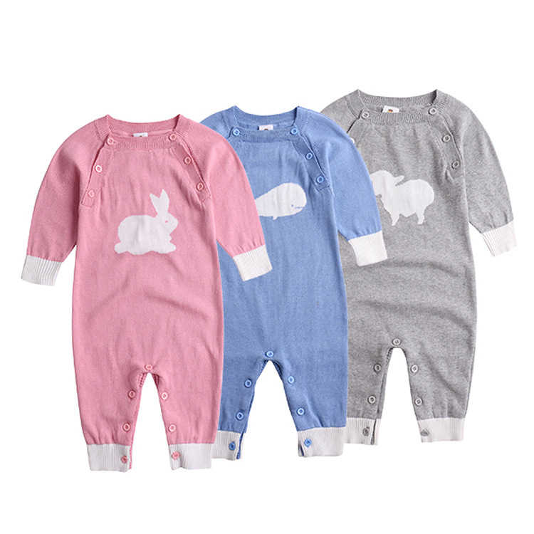New 2016 autumn winter rompers baby clothing children's knitted overalls baby girls / boys cotton cartoon jumpsuits newborn
