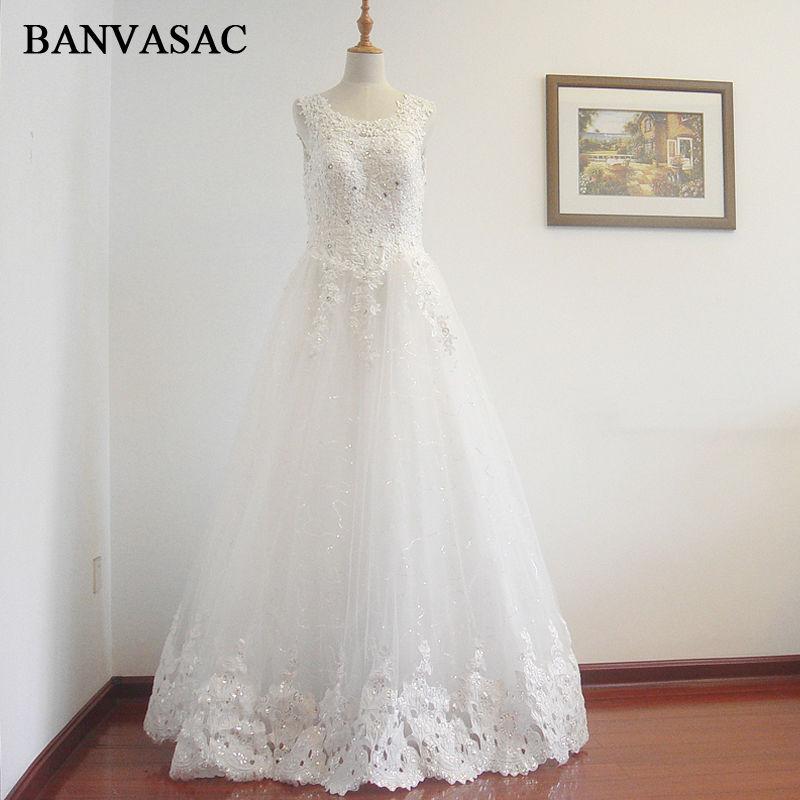 BANVASAC Gratis Pengiriman 2017 Baru A-line Bunga Tanpa Lengan Gading - Gaun pengantin