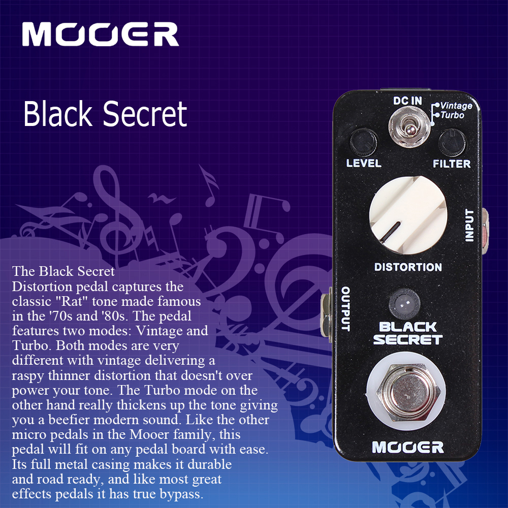 Mooer Full Metal Shell Effects Micro Black Secret Distortion Guitar Effect Pedal With 2 Working Modes True Bypass mooer hustle drive distortion guitar effect pedal micro pedal true bypass effects with free connector and footswitch topper
