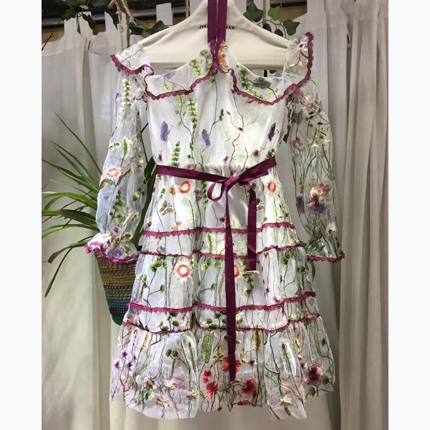 Europa Neue Schwarzeswei gesticktes Schulter Staaten Modeschau Lotusblatt 2018 h ngende Kleid Hals GqSUVpzM