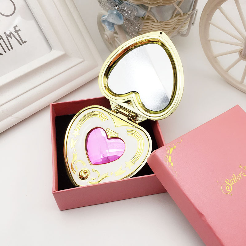 Cute Sailor Moon S Moonlight Memory Series Cosmic Heart Mirror Case Compact Crystal cosmetic make up mirror in Makeup Mirrors from Beauty Health