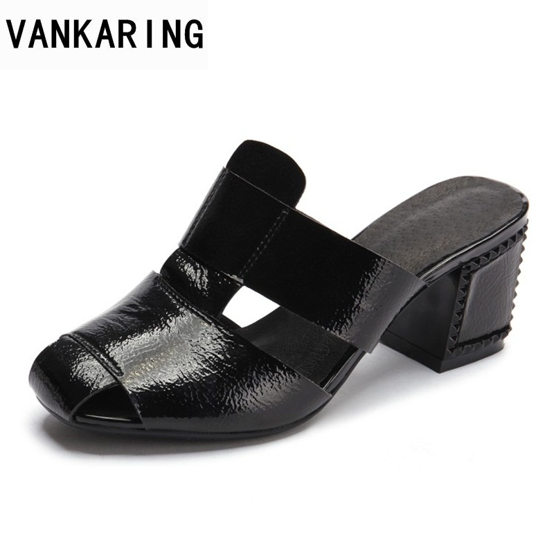 VANKARING women 2018 new fashion summer genuine leather sandals peep toe middle heels sandals plus size 35-39 dress ladies shoes 2017 new summer fashion women casual shoes genuine leather lady leisure sandals gladiator all match ankle peep toe flowers