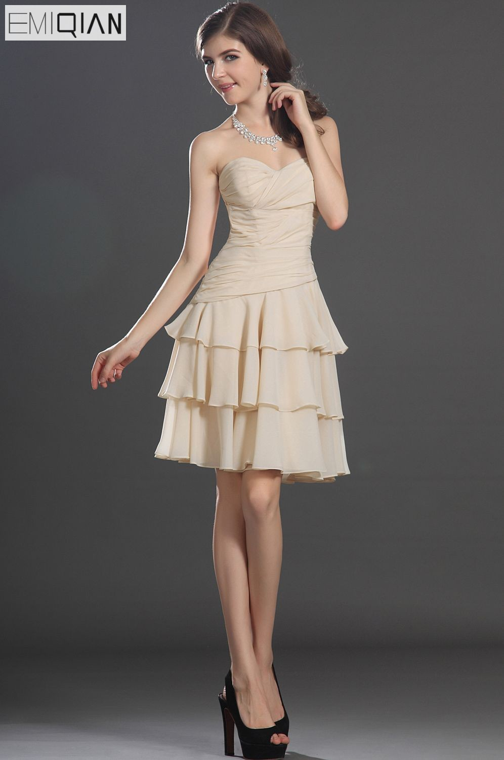 Freeshipping New Lovely Strapless Sweetheart Neckline Tiered   Cocktail     Dress