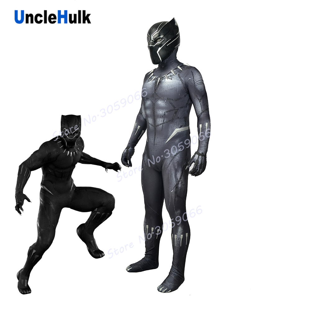 Black Panther 2018 Movie Lycra Spandex Zentai Suit Cosplay Costume - enhanced version - handmade draw lines | UncleHulk