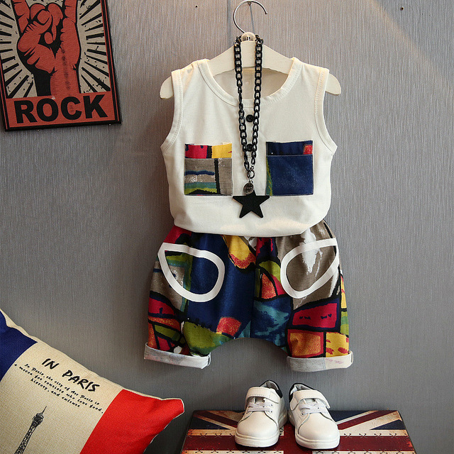 Children's suit new cotton baby Sleeveless clothing set summer baby boys and girls body suit cartoon kids clothing set 2-6years 1