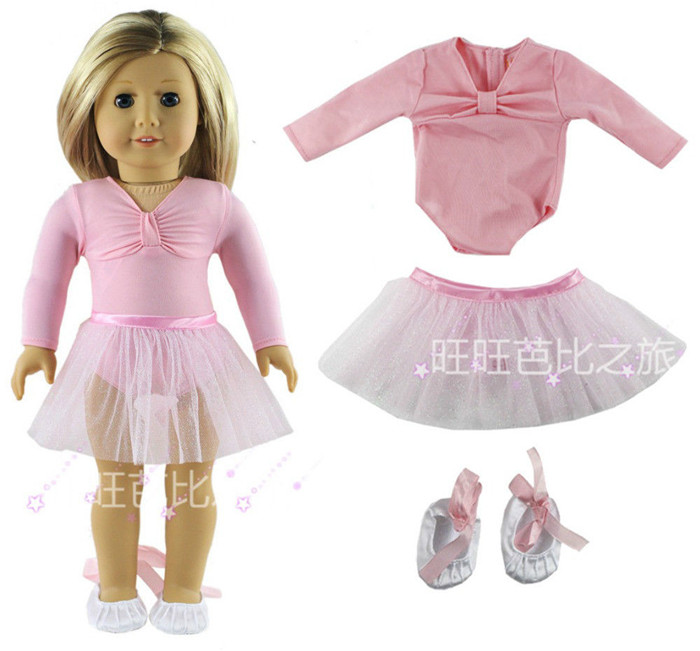 Pink Doll Clothes Ballet Dress Fit For 18 Inch American Girl Dolls Handmade #2