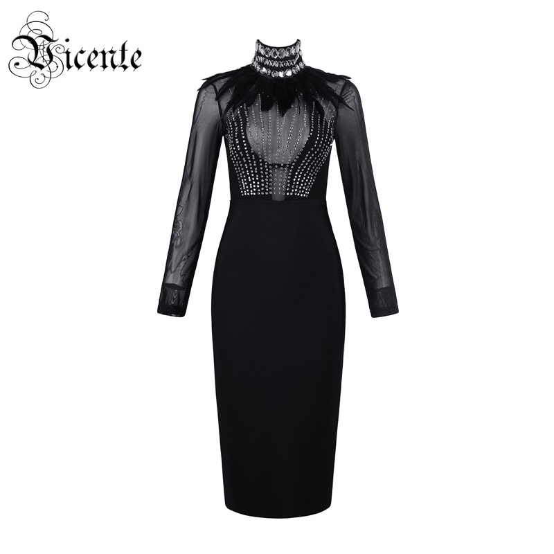 Vicente 2019 New Chic Feather Beads Design Long Sleeves Mesh Splicing High Neck Celebrity Party Club