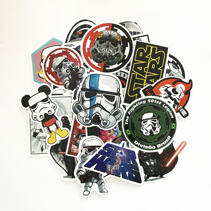 купить TD ZW 2018 25Pcs Star Wars Stickers Decal For Snowboard Laptop Luggage Car Fridge DIY Styling Vinyl Home Decor Pegatina по цене 92.92 рублей