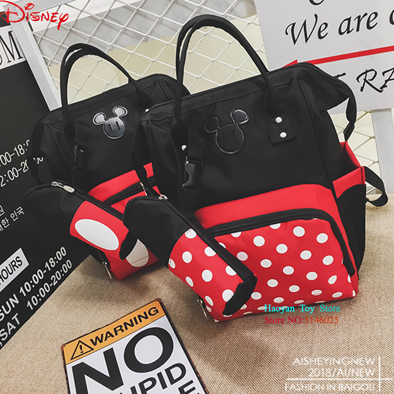 Disney Minnie Mickey 2PCS/SET Classic Style Diaper Bags Mummy Maternity Nappy Bag Large Capacity Bag Travel Backpack for Baby disney fashion mummy large capacity baby bag maternity nappy bag travel backpack minnie mickey classic style diaper bags