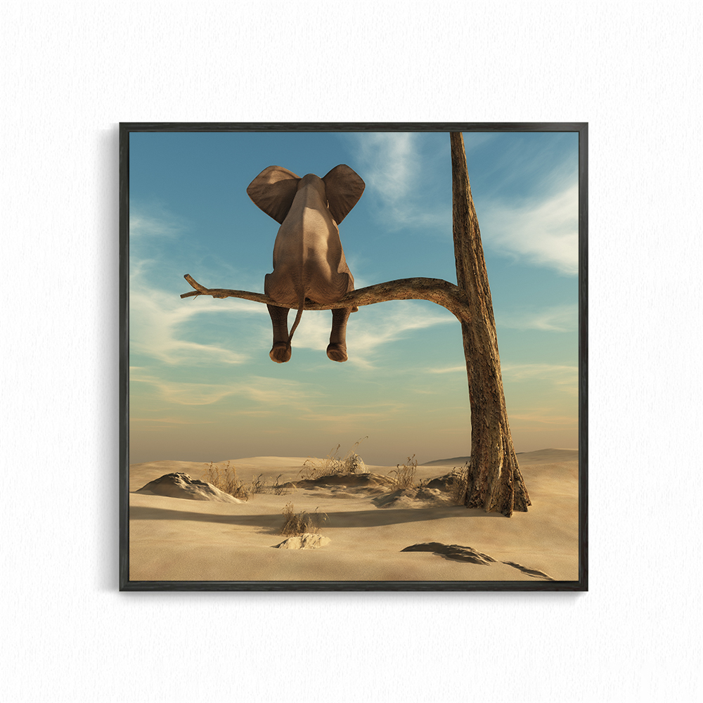 Funny Elephant On Tree Modern Minimalist Canvas Painting Wall Art Pictures Nordic Posters And Prints Home Decor Kids Room Decor