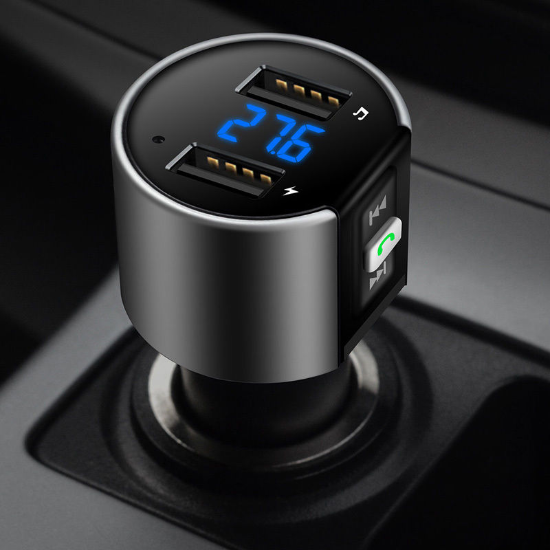 Intelligent Bluetooth FM Transmitter Dual USB Radio Stereo Car Kit Handsfree Digital For Driving LED Display With A2DP Function