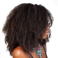 Афро кудрявый вьющиеся волосы человека парики для Для женщин 150% Плотность предварительно сорвал Синтетические волосы на кружеве парик с ре