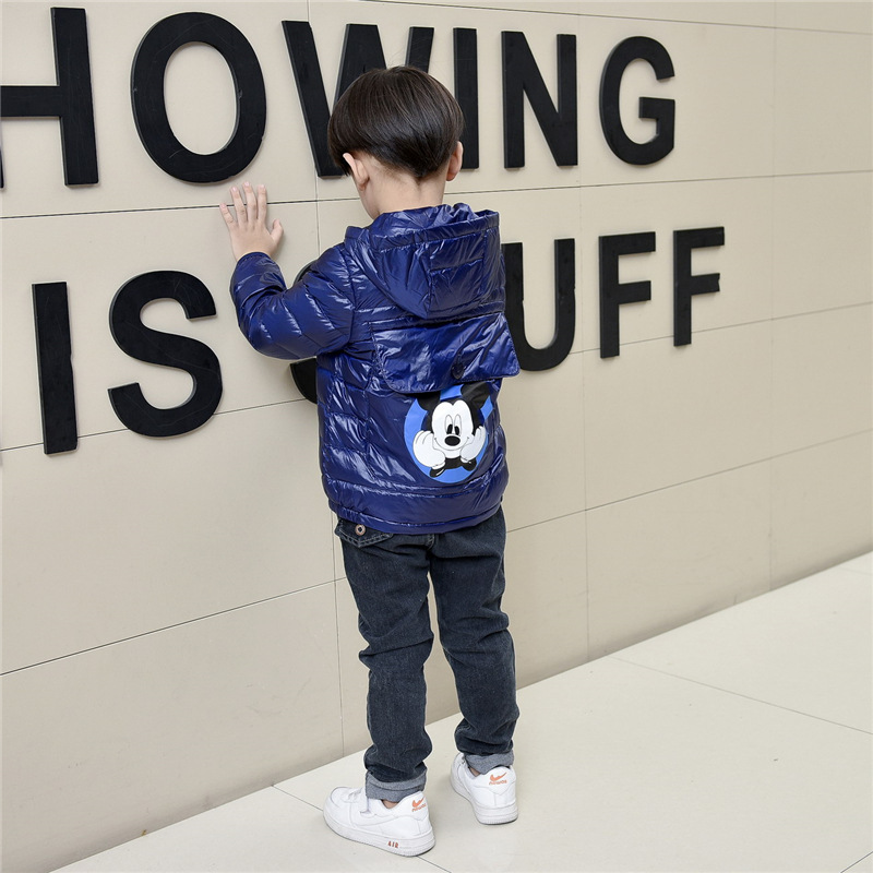 Kids Winter Down Jacket Boys Girls 90% White Duck Lightweight Coat Children Zipper Pocket Cartoon Hooded Baby Warm Clothes Suit zipper up hooded camo lightweight jacket