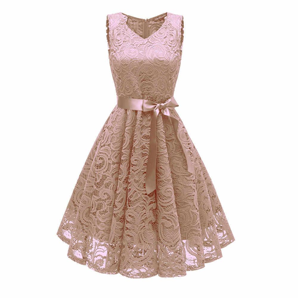 Vintage Kanten Jurk Landingsbaan Jurk Zomer vestido Boog Riem V-hals Party A-lijn Cami Jurken Elegante Jurken Vetement Femme vestidos
