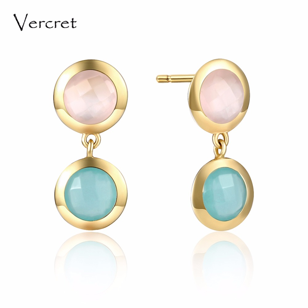 Vercret 18k gold fine jewelry earrings silver 925 natural stone rose quartz earrings for women gift yoursfs dangle earrings with long chain austria crystal jewelry gift 18k rose gold plated