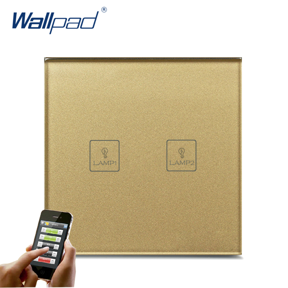WIFI Phone Control 2 Gang Remote Wallpad Gold Glass Switch 110-250V LED 2 Gang Phone WIFI Touch Controlled Wall Light Switch new wallpad white glass wifi led light eu uk 110 220v intelligent led 2 4 ghz wifi directly control wall light switch ios androd